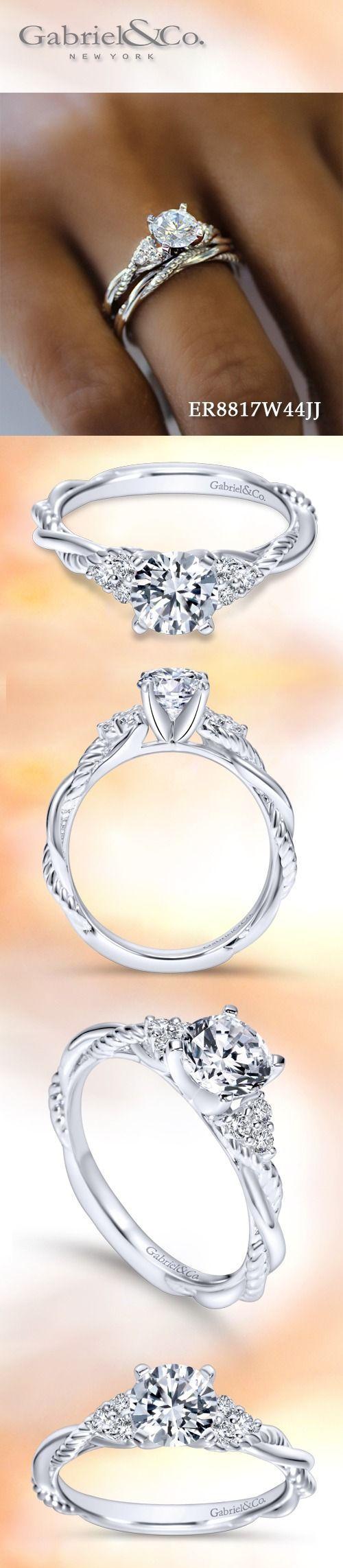 Hochzeit - 14k White Gold Round Twisted - ER8817W44JJ
