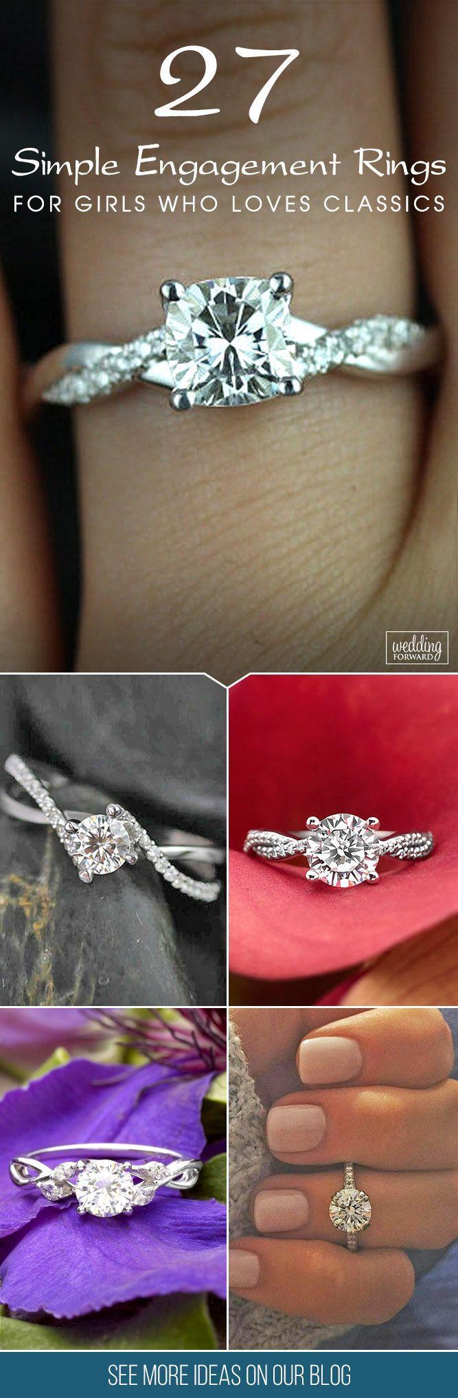 زفاف - 27 Simple Engagement Rings For Girls Who Loves Classics