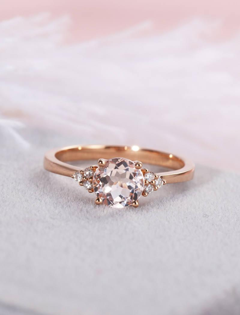 Morganite Engagement Ring Rose Gold Cluster Diamond Wedding Women