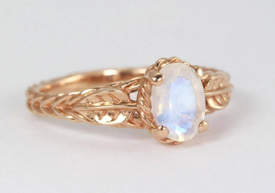 Hochzeit - Moonstone Ring, Rose Gold Leaves Ring With Moonstone, Antique Leaf Moonstone Ring, Rose Gold Twisted Rope And Leaf Moonstone Ring