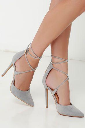 Свадьба - Leading Role Grey Suede Lace-Up Heels