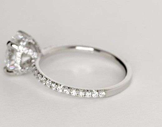 Mariage - Studio Petite French Pavé Crown Diamond Engagement Ring In Platinum (1/3 Ct. Tw.)