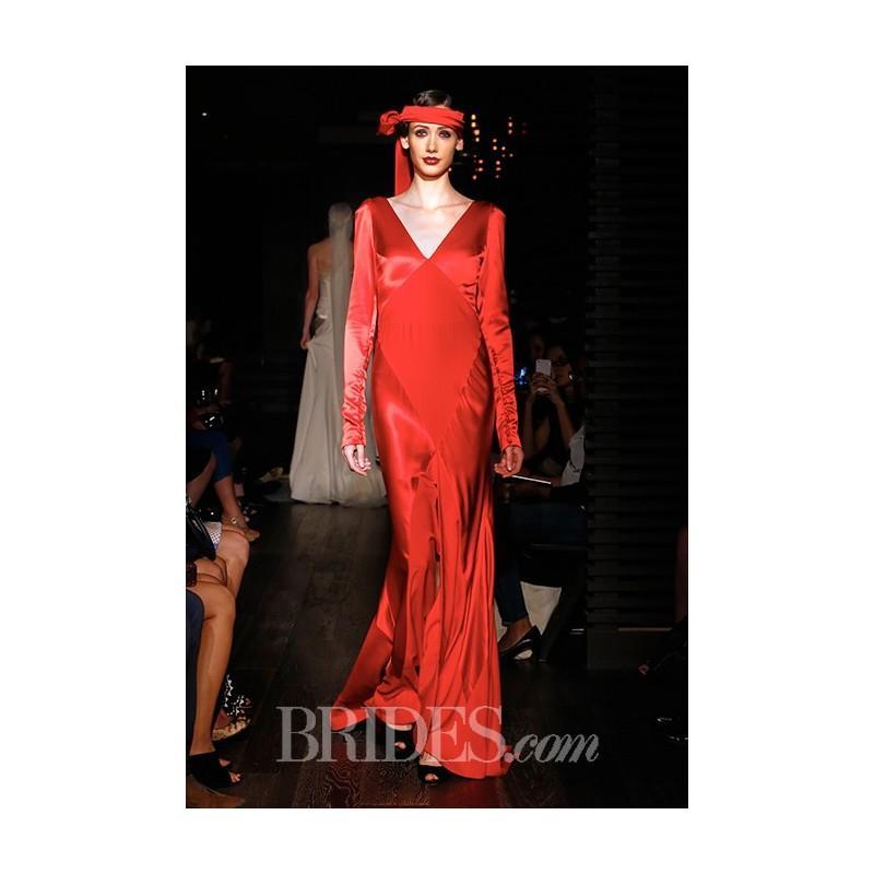 Wedding - Johanna Johnson - Fall 2015 - The Siren Red V-neck Sheath Wedding Dress with Long Sleeves - Stunning Cheap Wedding Dresses