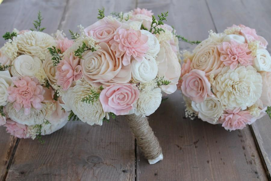 Wedding - Blush Pink, Light Pink, & Cream Dahlia Sola Bouquet, Pink Dahlia Bouquet, Light Pink Sola Bouquet, Pink Bouquet, Pink Sola Wood Flowers