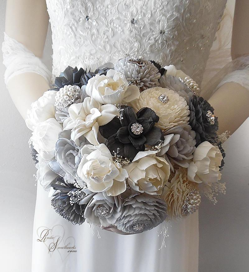 Hochzeit - Free Shipping ~ Ready to Ship ~ Light Grey & Charcoal Grey Sola Flower Wedding Bouquet, Peony Sola Bouquet with Rhinestones