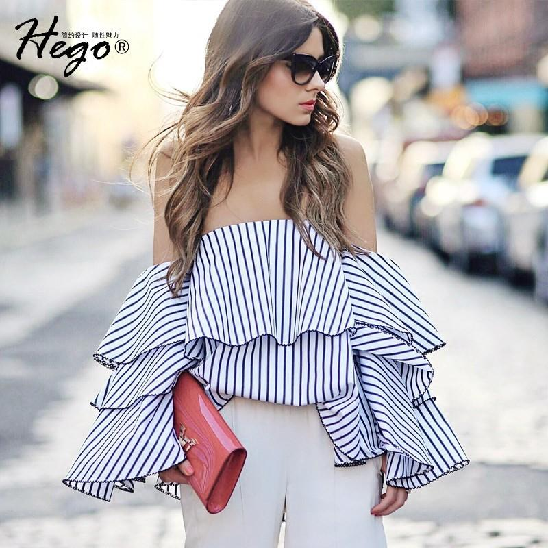 Wedding - Must-have Sexy Open Back Flare Sleeves Off-the-Shoulder Stripped Summer Top Blouse - Bonny YZOZO Boutique Store