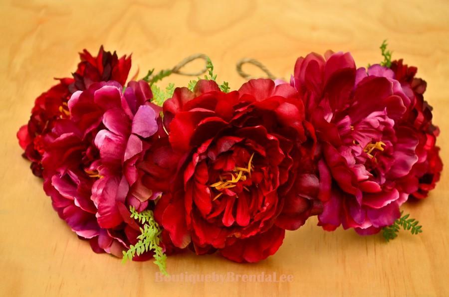 Hochzeit - Burlesque Red Flower Crown