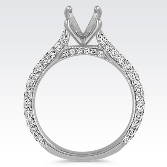 Mariage - Classic Pavé-Set Round Diamond Cathedral Engagement Ring