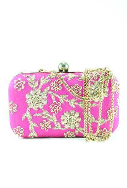 Hochzeit - Pink Zardozi Flower Clutch
