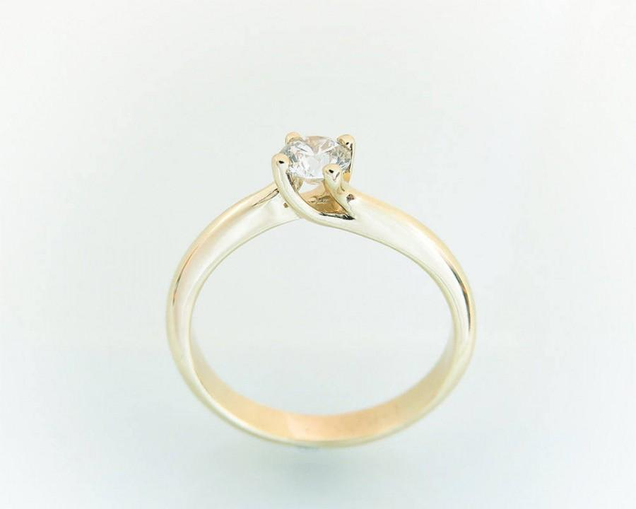 Wedding - Engagement ring, Diamond engagement ring, Unique engagement ring, Modern engagement ring, Solitaire ring, Yellow gold solitaire ring