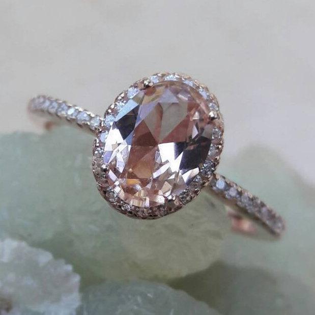 زفاف - Rose Gold Morganite Ring Cubic Zirconia Halo FREE Gift Box & FREE Shipping Codes Below Alternative Bride Rings Engagement Ring Promise Ring