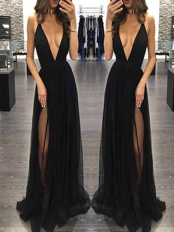 Mariage - Popular Black Deep V-neck Sexy See Through Tulle Charming Simple Formal Evening Party Prom Dress.PD210703 From BellaBridal