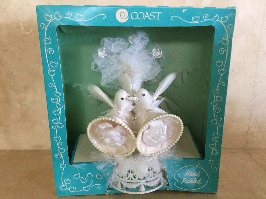 Wedding - Vintage Coast Novelty Handpainted Doves Wedding Cake Topper circa 1980