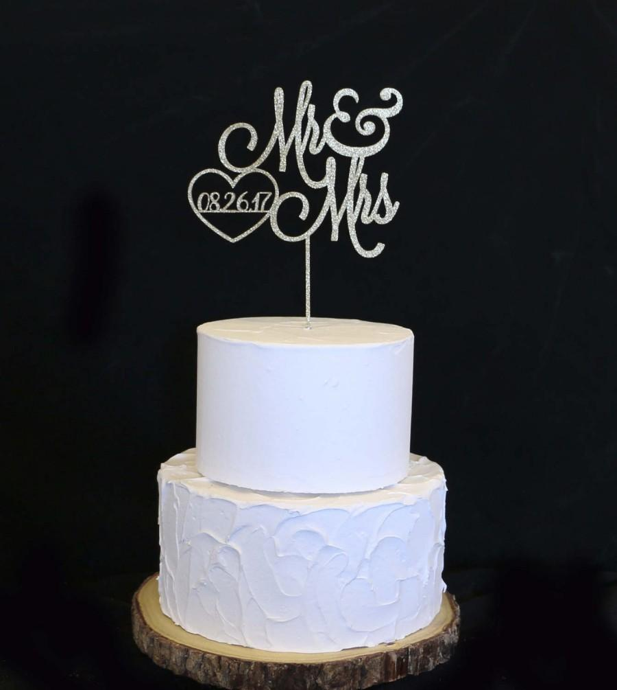 Свадьба - Wedding Cake Topper With Date