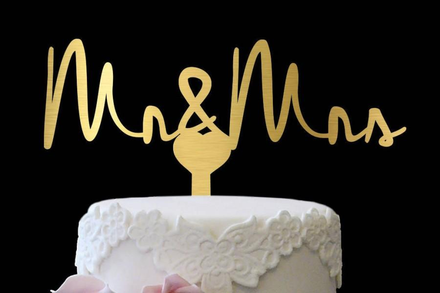Mariage - Gold Cake Topper Mr and Mrs, Custom Mr and Mrs Cake Topper, Gold Rustic Cake Topper, Cake Topper Mr and Mrs Rustic, Wedding Cake Topper