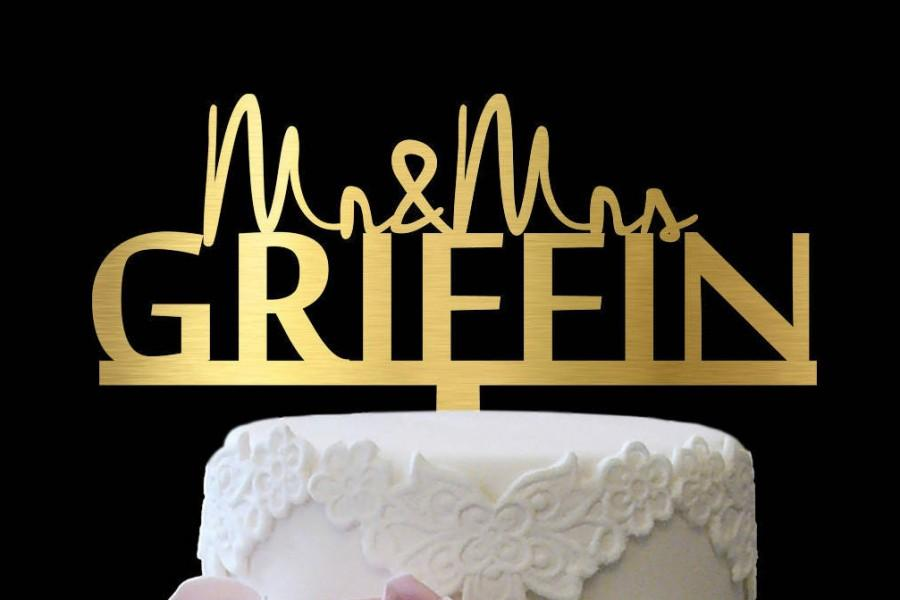 Mariage - Cake Topper Wedding Mr and Mrs, Personalized Wedding Cake Topper Mr and Mrs, Custom Cake Toppers for Wedding Mr and Mrs, Gold Cake Topper