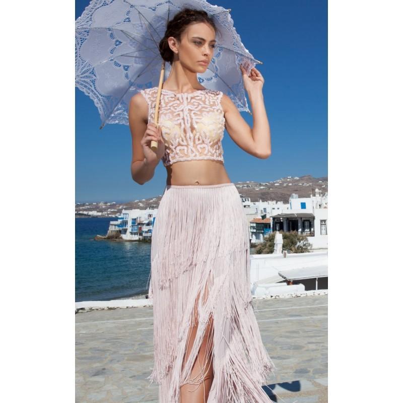 Wedding - Pink Fringe Two Piece Gown by Tarik Ediz - Color Your Classy Wardrobe