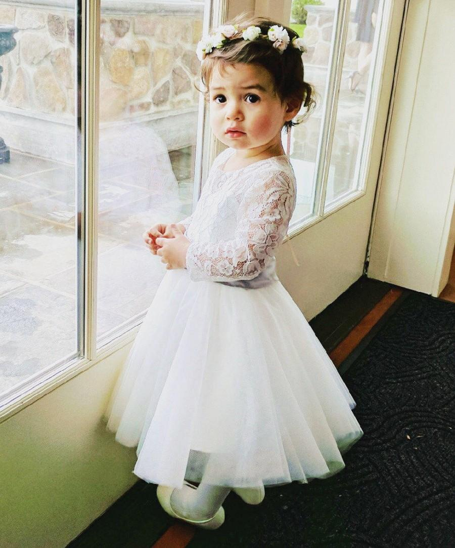 Long Sleeves Light Ivory Flower Girl Dress Lace Tulle Flower Girl