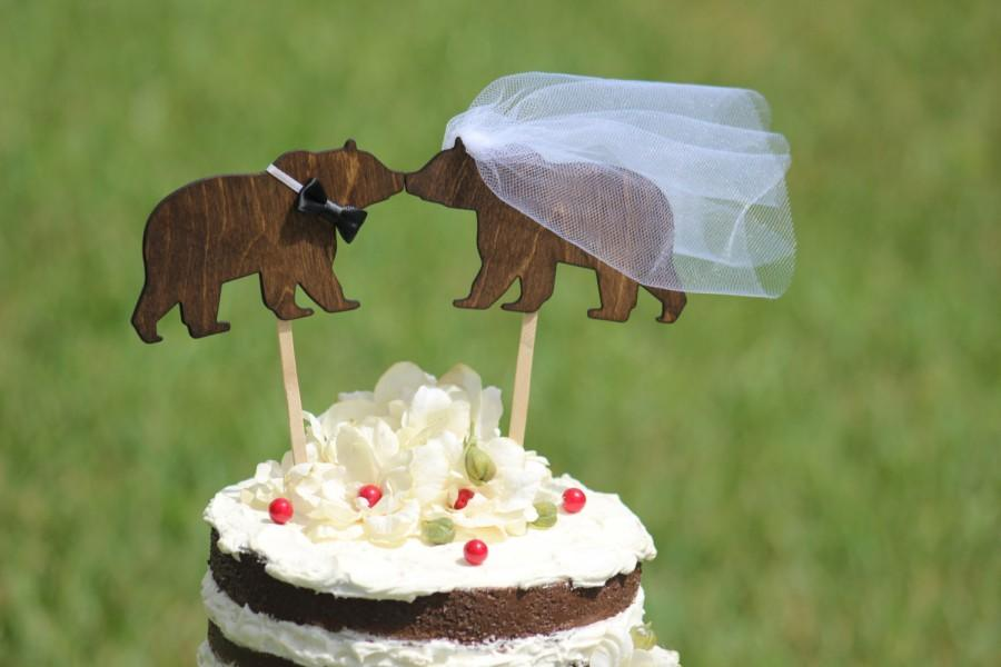 Mariage - Bear Cake Topper Personalized - Cupcake Topper - Personalized Wedding -  shabby chic, outdoor, cottage chic