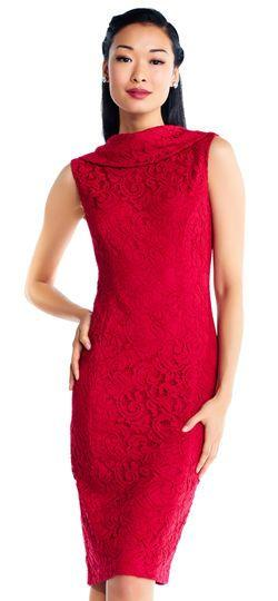 Mariage - Scroll Lace Sheath Dress With Roll Neckline