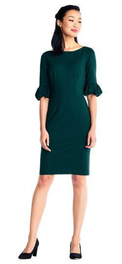 Wedding - Ponte Sheath Dress With Bishop Sleeves And Deep V-Back