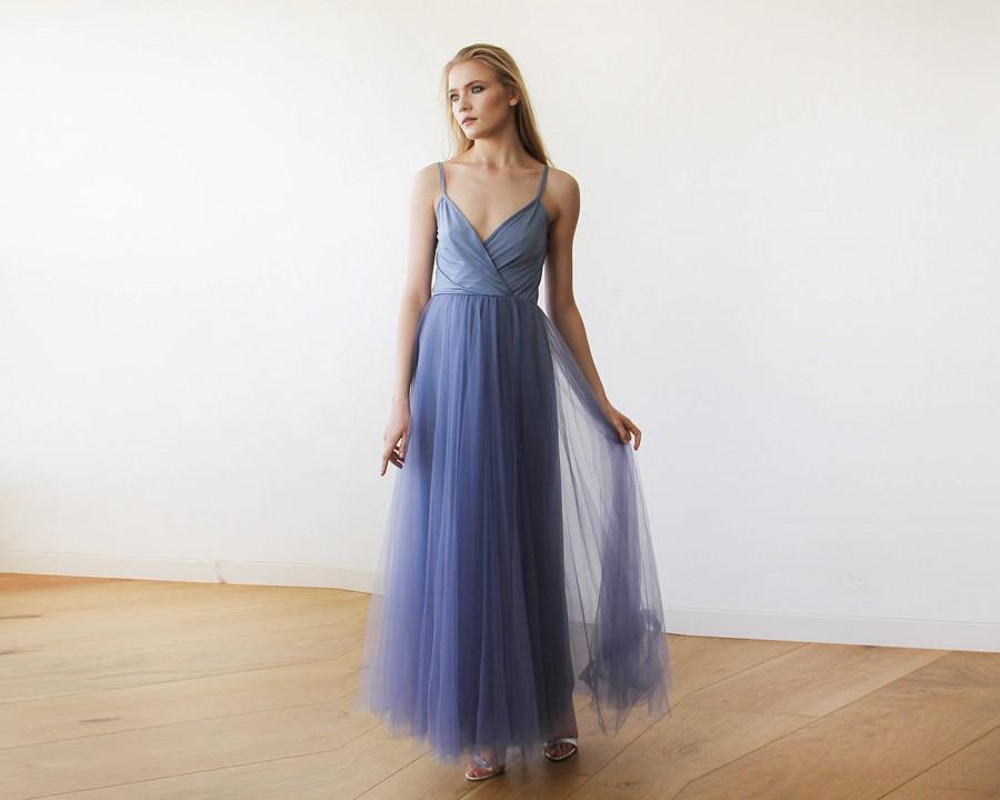 Düğün - Dusty Blue Straps Maxi Tulle Dress 1053