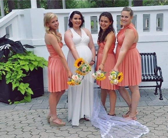 Mariage - Peach Coral short Bridesmaid dress, infinity Dress, Convertible Dress, spring dress, honeymoon beach dress, bridesmaid gown, wrap dress