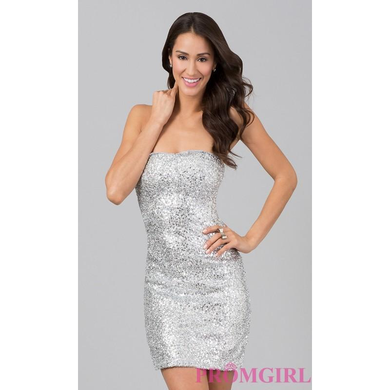 زفاف - Short Strapless Sequin Dress - Brand Prom Dresses