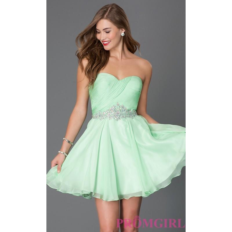 Свадьба - Short Strapless Sweetheart Alyce Dress with Jewel Embellished Waist - Brand Prom Dresses