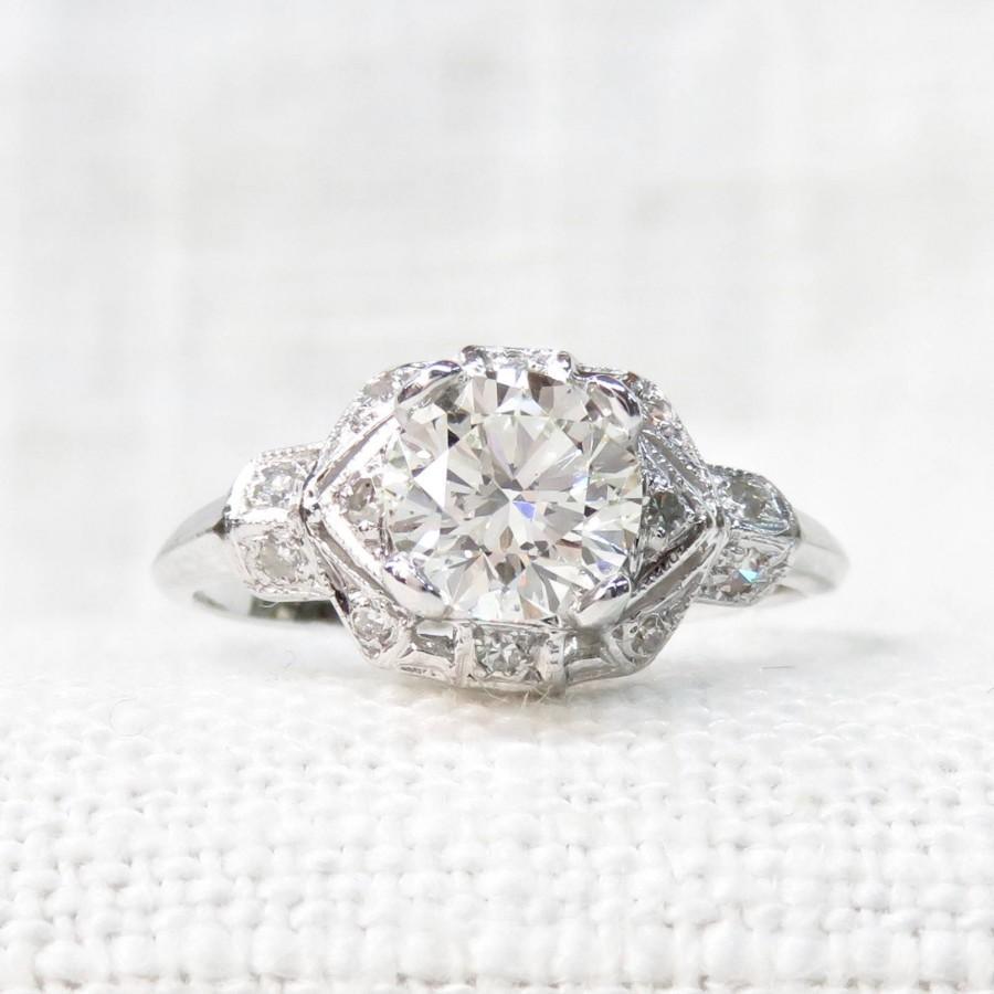 زفاف - Art Deco Style Engagement Ring in Platinum and Diamond: 1.14 Carat; Vintage Diamond Ring; Natural Diamonds; Promise Ring; Anniversary Gift