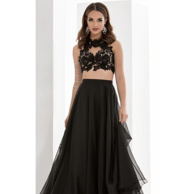 Wedding - Black Two-Piece Beaded Lace Gown by Jasz Couture - Color Your Classy Wardrobe