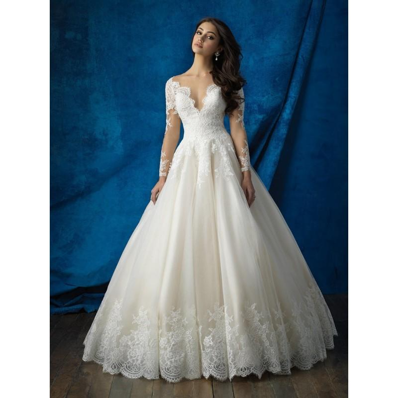 Allure Bridals 9366 Lace Long Sleeve Ball Gown Wedding Dress Crazy