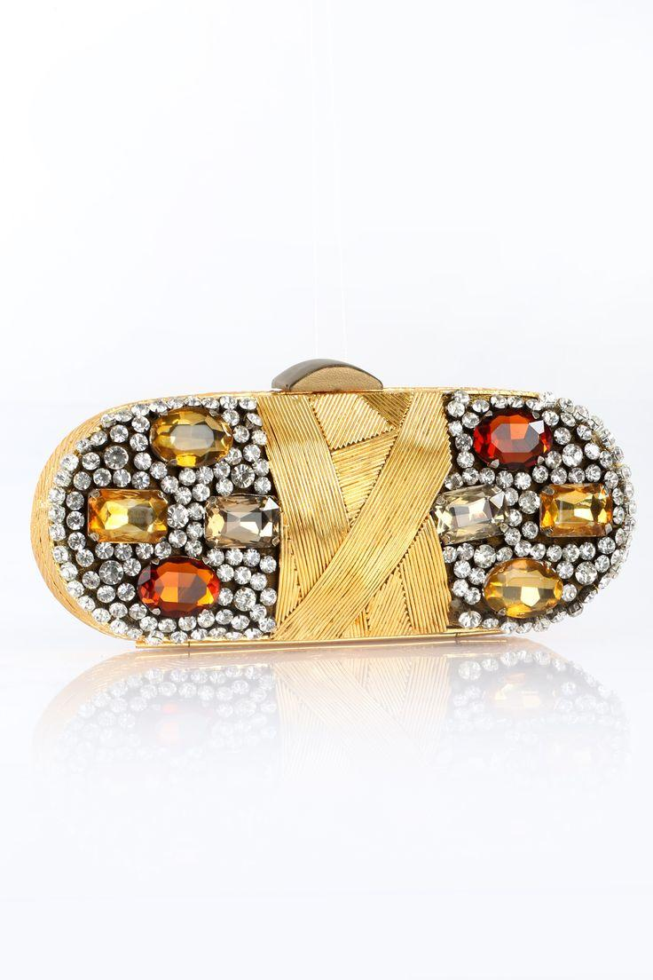Hochzeit - Bejewelled Golden Clutch