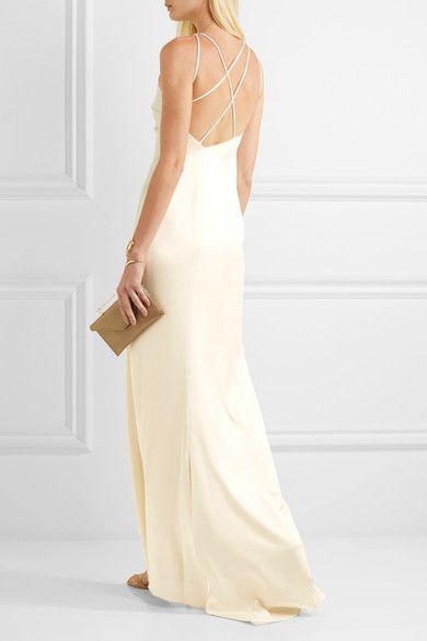 Hochzeit - Halston Heritage - Open-back Satin Gown - Cream