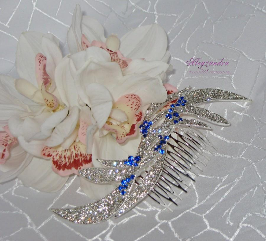Свадьба - Blue and Clear Crystal Bridal Hair Comb, Wedding Hair Jewelry, Wedding Hair Pieces, Rhinestone Combs, Bridal Headpieces - $39.99 USD
