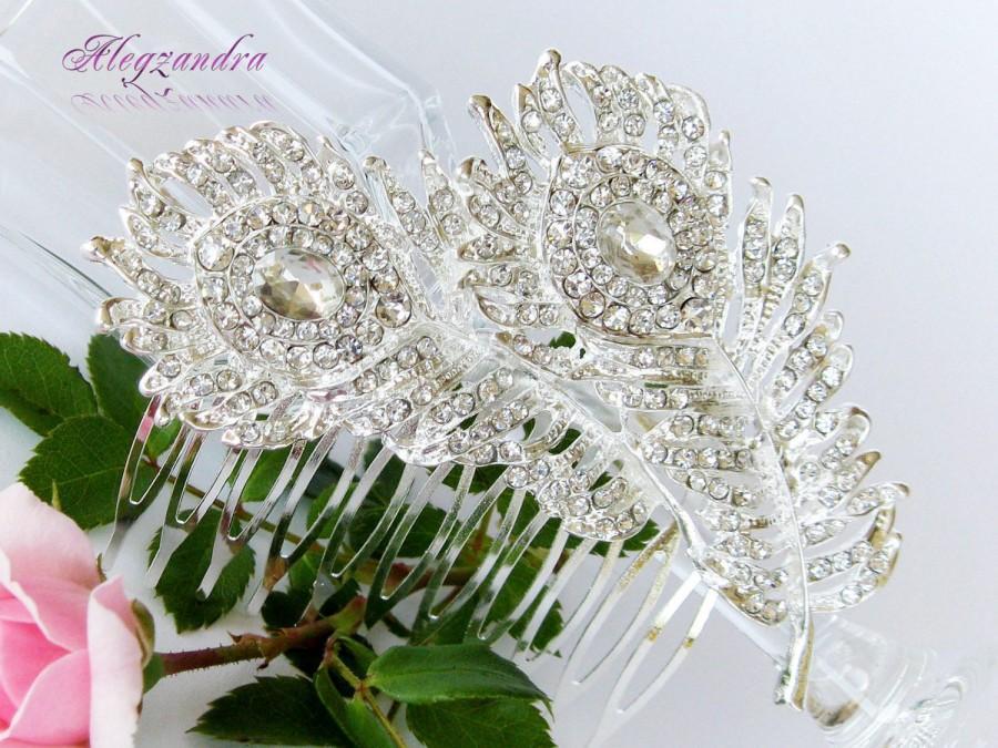 Mariage - Peacock Swarovski Crystals Bridal Hair Comb, Peacock Crystal Comb, Wedding Hair Piece, Rhinestone Comb, Wedding Hair Comb, Hair Jewelry - $29.99 USD