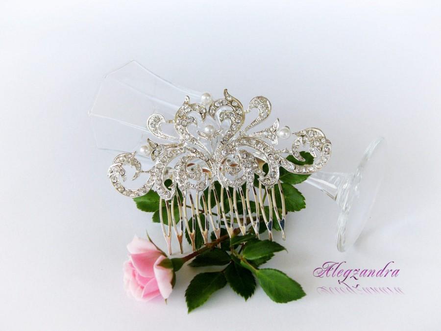 Wedding - Bridal Headpieces, Crystals and Pearls Bridal Hair Comb, Wedding Hair Pieces, Rhinestone Combs, Wedding Hair Accessories, - $29.99 USD