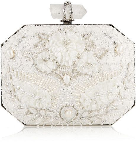 Hochzeit - Iris Embellished Leather Box Clutch