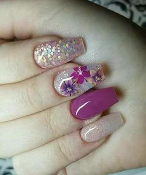 زفاف - Super Fabulous Flower Glitter Nail Art Designs For Your Big Day