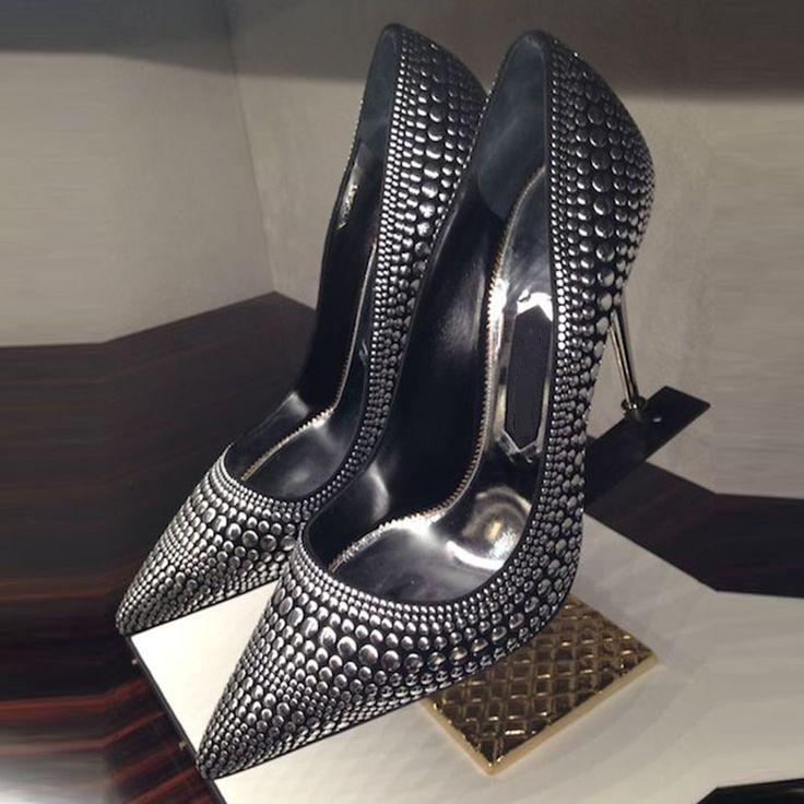 Hochzeit - ShoespiePointed Toe Slip-On Rivet Stiletto Heel