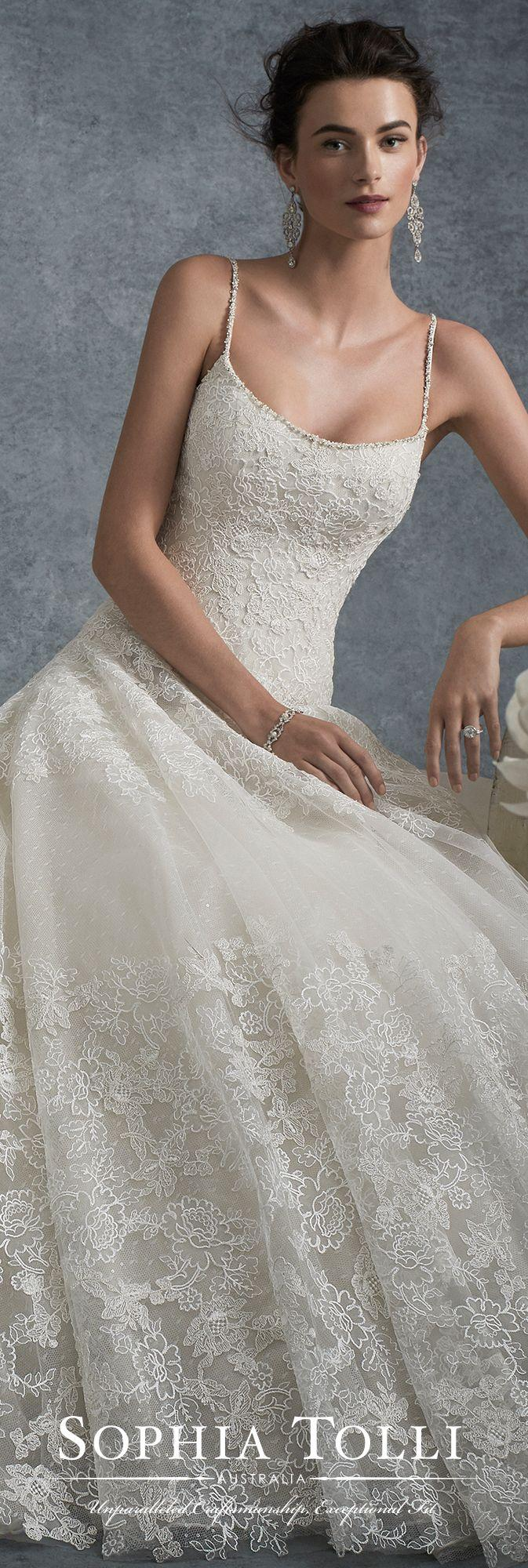 Свадьба - Spaghetti Strap Lace And Tulle Ball Gown Wedding Dress Sophia Tolli Y21743