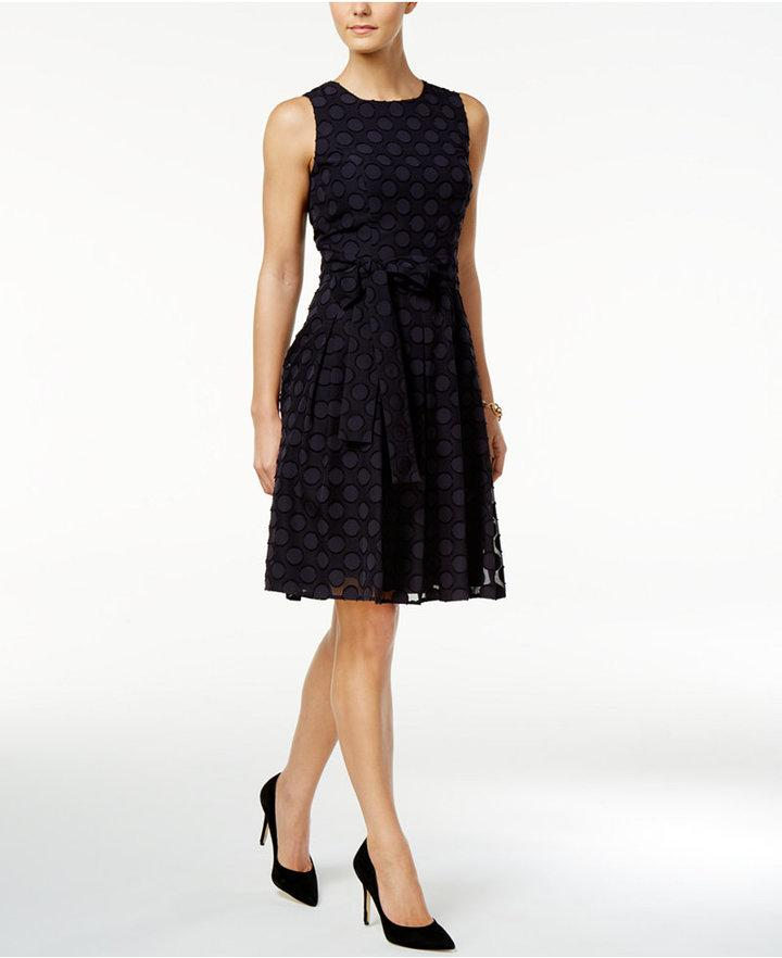 445ce884175 Tommy Hilfiger Belted Dot-Texture Fit & Flare Dress #2775582 - Weddbook