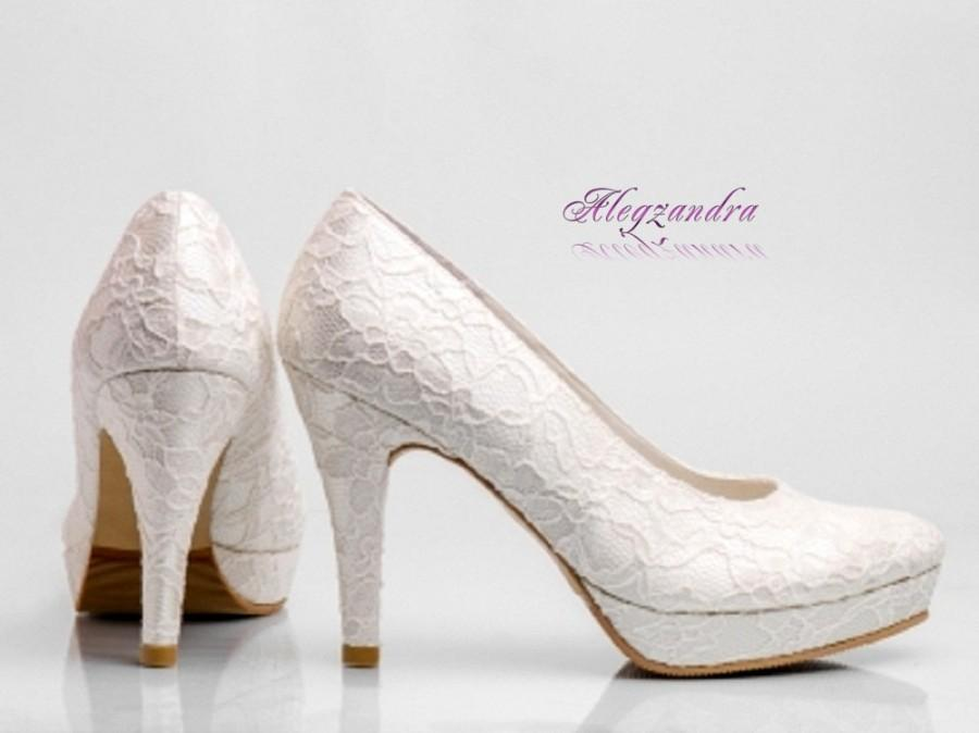 retail prices huge discount presenting White Lace Platform Wedding Shoes, Ivory Lace Platform Bridal ...