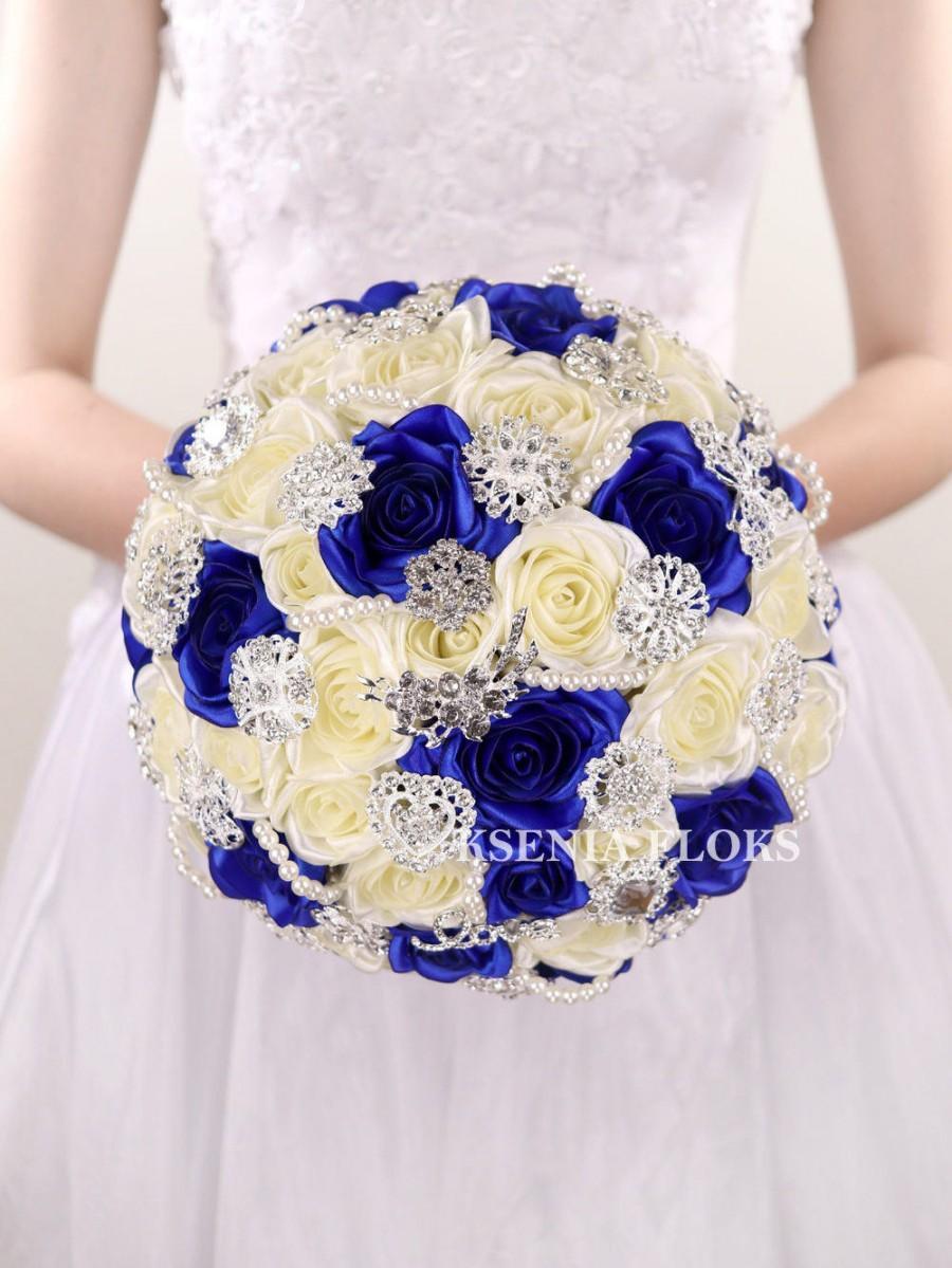 Blue Brooch Bouquet Broach Bouquet Wedding Bouquet Bridal Bouquet