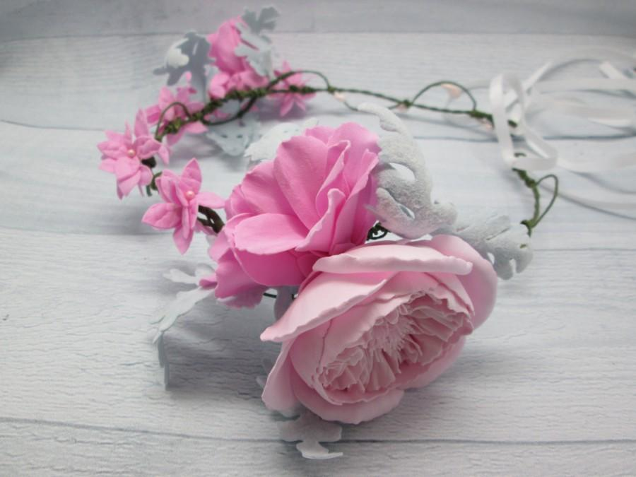 Свадьба - Bridal flower crown Christmas wedding Bridal hair crown Winter wedding Grey pink floral Grey pink flower Winter crown Hair wreath Pink crown