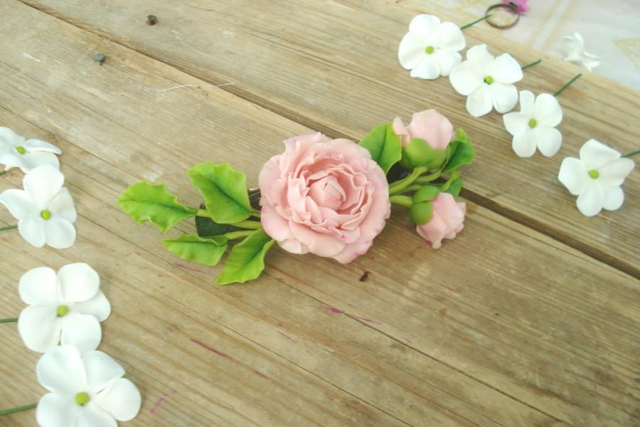 Свадьба - Pink peony flower hair barrette, wedding accessories, clay flowers, ceramic floristry, cold porcelain, tender peony, romantic,