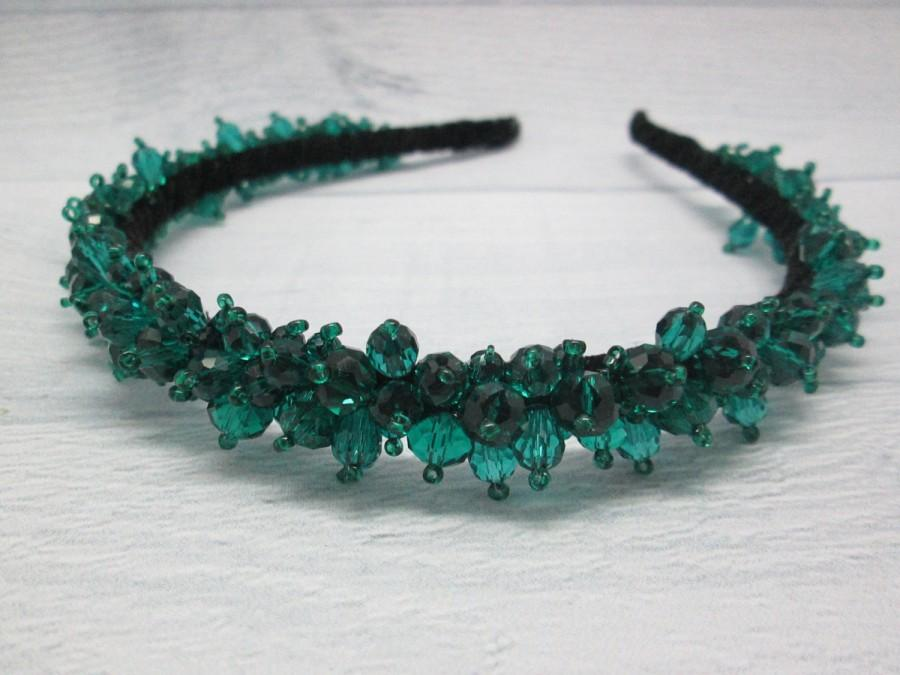 Свадьба - Emerald wedding Emerald tiara Princess Crown Green wedding Bridal jewellery Bohemian jewelry Emerald crown Bridal crystal crown Leaf hair
