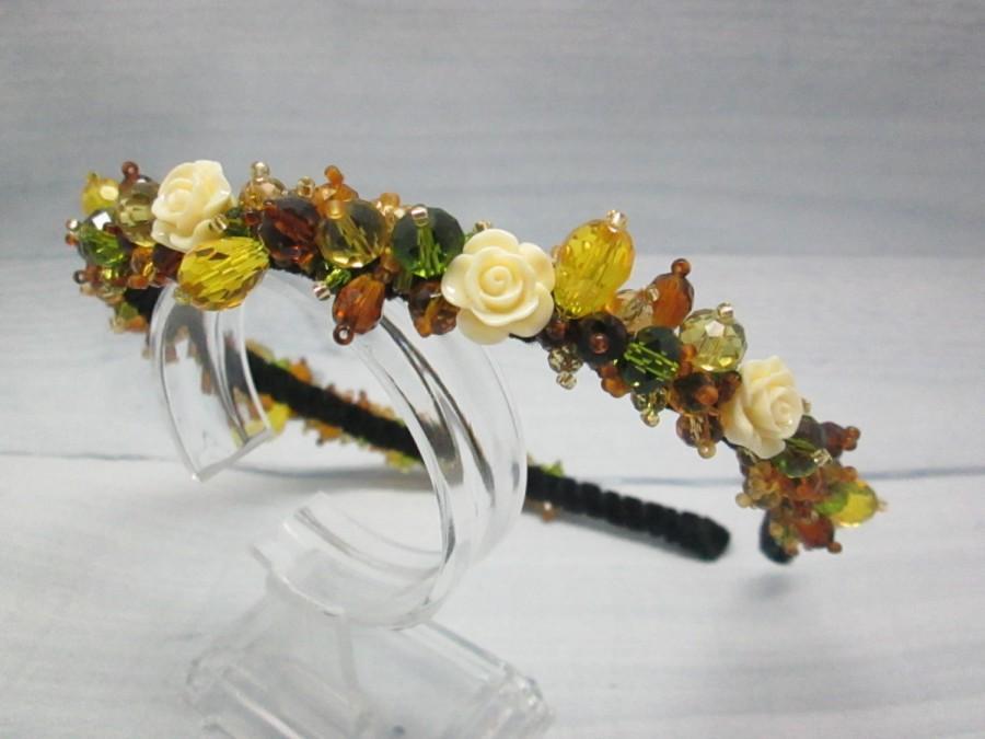 Свадьба - Bridal flower crown Boho hairpiece Woodland wedding Crystal hairpiece Flower crown Crystal tiara Forest wedding Olive jewellery Brown