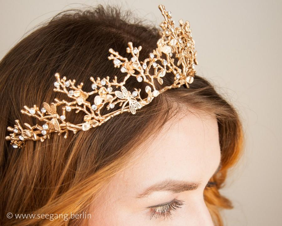 زفاف - Bridal Tiara Vintage Gold  Princess
