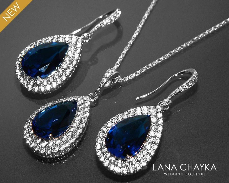 b26f64e9c Navy Blue CZ Bridal Jewelry Set Royal Blue Earrings&Necklace Set Dark Blue  Jewelry Set Prom Jewelry Bridesmaid Jewelry Blue CZ Jewelry Sets - $28.90  USD